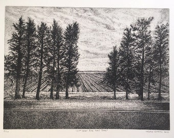 24ths street bike trail trees etching print printmaking numbered edition of 50.