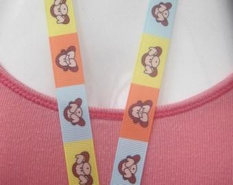 Three wise monkeys breakaway lanyard key, whistle, ID badges keyring school gift christmas grosgrain ribbon