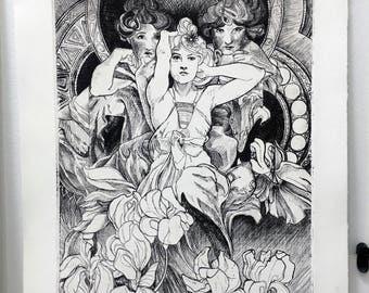 Three Muses Intaglio Print