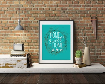 """Typography A4 Print on Paper """"Home Sweet Home"""" Quotes,  Modern Wall Art, Home Decor"""