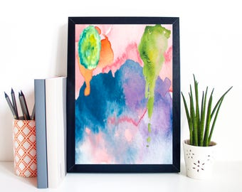 Abstract Watercolour A4 Print Poster Wall Art Home Decor Modern Art
