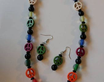 White Shell Peace Sign with Multi Colored Peace Sign with Earrings