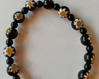 Stretch Black Bead Braclet with White and Yellow Sunflowers