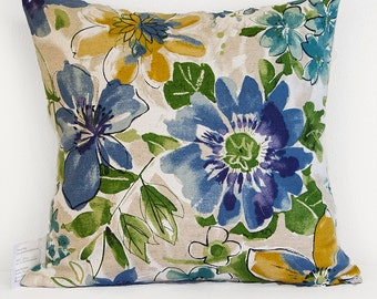 Blue and Yellow-Gold Floral Pillow Cover with Zipper Closure, Pillow Cover in Shades of Blue and Indigo with Green and Yellow Flowers