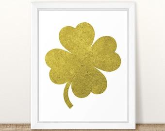 Gold Foil Shamrock Printable, Shamrock Print, St. Patrick's Day Decoration, Saint Patricks Day, Four Leaf Clover, St Patrick's Day, Clover