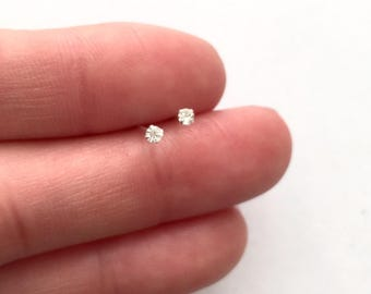 Tiny micro diamond earrings/ nose studs 1.2mm 1.7mm sterling silver gold