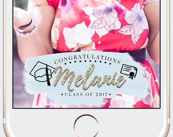 Graduation Custom Snapchat Geofilter Personalized with Customized Name and Class Grad Party Watercolor Gold Glitter Cap and Gown Diploma