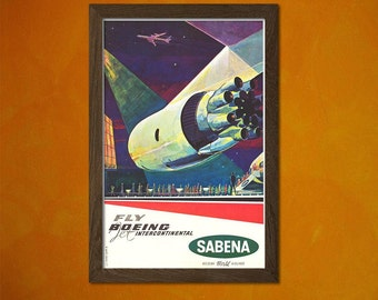FINE ART REPRODUCTION Sabena Belgian Airlines Boeing Vintage Tourism Travel Poster Advertising Retro    Design
