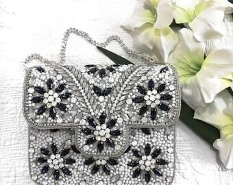 White Embellished wedding clutch evening clutch bridal clutch bridesmaid clutch party clutch prom clutch bridesmaid gift wedding purse gift