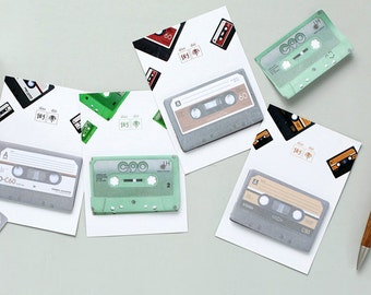 Cassette Tape Sticky Notes, Set of 4 Post-It, Retro Stationary, Office School Supplies