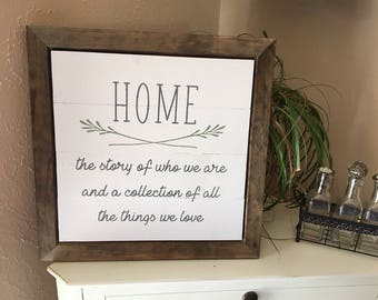Home The Story of Who We Are | Framed Wooden Sign| Home Sign | Denneystudio