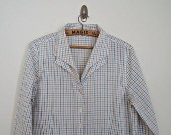 SALE ! Vintage 70s 80s rainbow plaid button down shirt // Size M/L