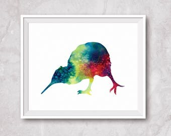 Sales! Watercolor kiwi bird , kiwi  print, hand paint watercolor, kiwi bird silhouette, kiwi