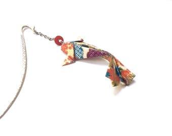Bookmark origami, carp koi, Japanese paper washi, fish origami, origami fish bookmark