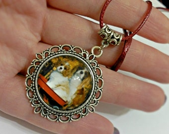 Puppies necklace, cameo pendant, cameo puppies
