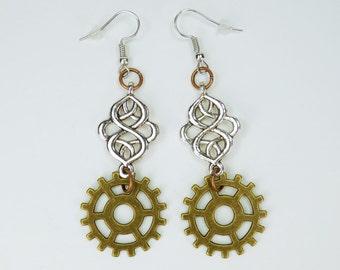 Earring ornament with gears from bronze to Silver earrings earrings jewelry hanging earrings steampunk gear pair of earrings