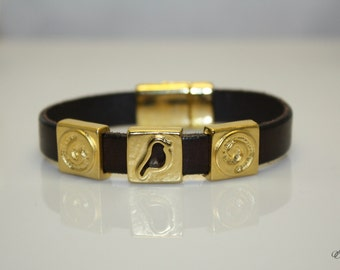 Geniune Cow Brown Chocolate Leather with Golden Bird Spiral Square Slider Bead Handcrafted Bracelet