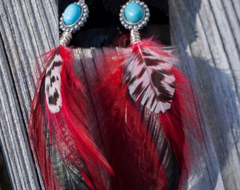 Turquoise & red feather earrings