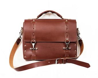 Leather satchel, leather handbag, laptop bag, ipad bag Handmade in the USA