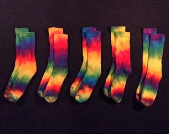 Rainbow Adult Tie-Dye Socks, Rainbow Socks, Colorful Socks, Cool Socks,  Fun Socks, Awesome Socks, Funky Socks, Hippie Socks, Festival Socks
