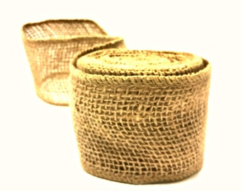 Wired Burlap Ribbon 2.5 inch / 5 YARDS Wired Burlap Ribbon / Natural Jute Ribbon / Natural Fiber Ribbon / Holiday Ribbon Wired / 5 YARDS