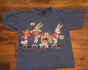 Vintage Looney Tunes Football Tee / Medium