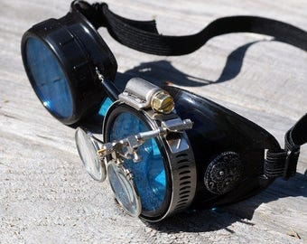 STEAMPUNK GOGGLES, Black with Blue Lenses, Silver Accents and Magnifying Loupes, Great for Halloween, Cosplay Costume or Birthday Gift