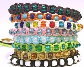 New handmade beaded braided surfer friendship bracelet/anklet mixed colours
