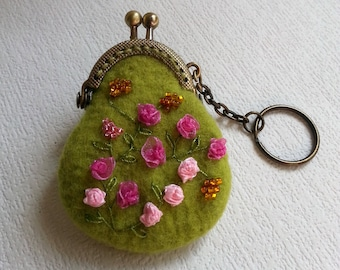 """Mini felted coin purse Keychain """"Spring Glade"""" - Felted coin purse - Pendant for bag - Stylish accessory - Embroidered accessory"""
