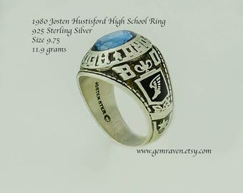 Josten Ring Size 9.75 Hustisford High School Class of 1980 11.9 grams 925 Sterling Silver High Quality Mens Blue Stone Vintage drR