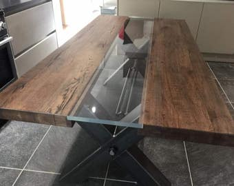 Industrial Rustic Oak Table Top With A Metal Base