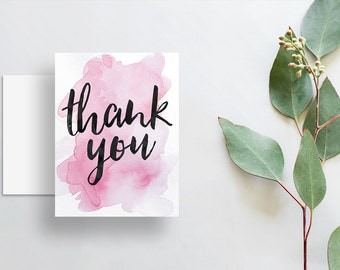 instant download watercolor splash thank you cards // bright pink watercolor // hand lettering // printable digital files thank you notes