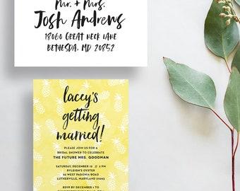 bridal shower invites // bridal shower invitations // pineapples // watercolor invites // lettering // printable // custom