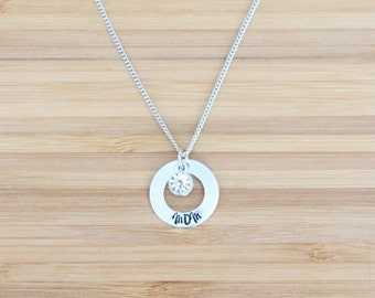 hand stamped necklace | small washer mom + birthstone