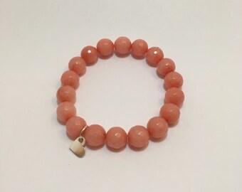 Semi precious beads bracelet jade salmon, pink (10 mm) with silver heart pendant
