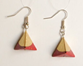 Earrings origami pyramid snot/gold