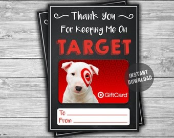 PRINTABLE Target Gift Card Holder Thank You - INSTANT DOWNLOAD - Keeping Me On Target Teacher Coach Daycare Gift Idea - Appreciation Gift