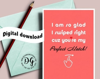 Printable Tinder Valentine's card, I am so glad you swiped right, funny valentine's day card, card for him, card for her, online dating
