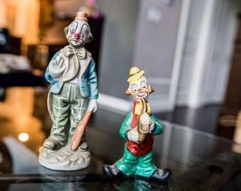 Pair of vintage porcelain hobo sad clown collectible figures