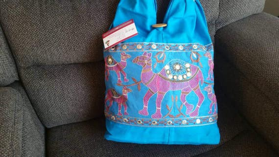 Hand Embroidery Bag, short handle bag, elephant purse, women's bag, blue purse, blue hand bag, shoulder bag, xmas gift for her, Tote bags