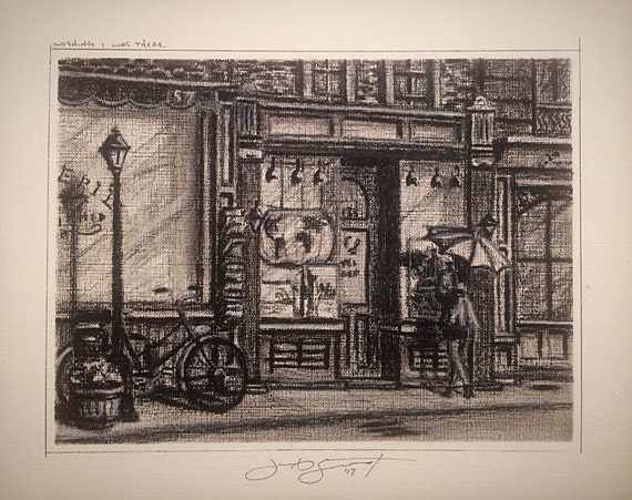 """Umbrella Girl - """"'Wishing I Was There"""" - 6""""x8"""" drawing on 8""""x10"""" board, charcoal on Illustration Board by Jacob Secrest"""