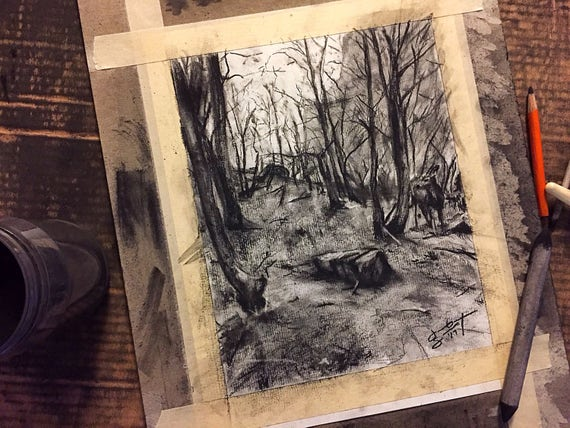 """Outdoors - """"Riverside Walk at Zion National Park"""" - 10""""x8"""", Art Original Charcoal Drawing on Paper by Jacob Secrest"""