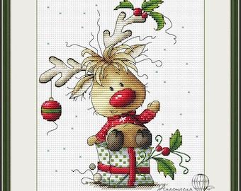 Cross-stitch scheme Christmas deer Embroidery pattern PDF