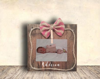 Photo Frame Sign - Nursery Sign - Clothes Pin Picture Frame w/ Jute Rope & Chevron Burlap Bow - Personalized -  Nursery Decor - Gift Idea