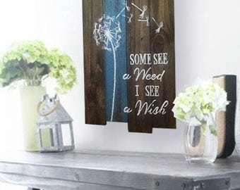 Dandelion Wall Art - Garden Decor - Dandelion Wishes - Wish Sign - Garden Sign - Some See A Weed I See A Wish Sign - Mother's Day Gift