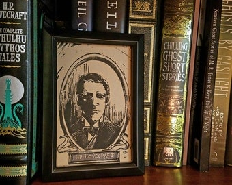 H.P. Lovecraft - Linocut Block Print
