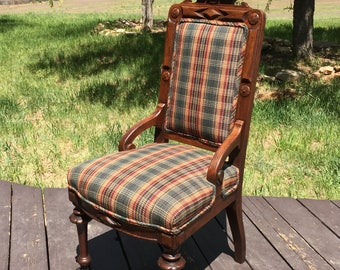 Antique Eastlake Chair Parlor Chair Ornate Wood Side Chair Accent Chair Carved Wood Chair Country Western Furniture Plaid Upholstered Chair