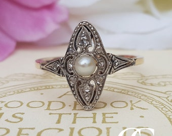 Antique 14ct Yellow Gold % Platinum Pearl Diamond Marquise Ring