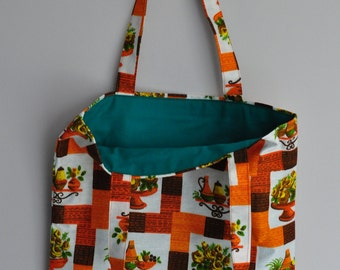 Hand made shopping tote bag Vintage fabric from 1950s 1960s