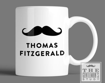 Moustache Personalized Mug - Handlebar Mustache Coffee Cup with Name or Monogram - 11 oz Ceramic Custom Printed Mug - Gift for Man